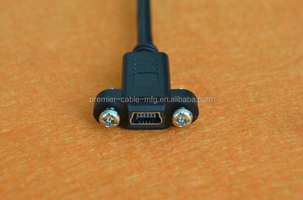 Mini Usb 2.0 Female To Female Panel Mount Cable With Screws