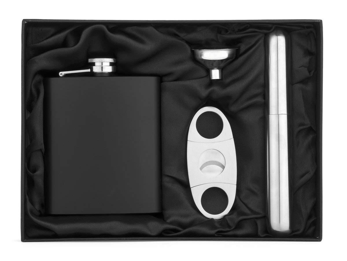 7oz Matte Black Stainless Steel Flask Funnel Cigar Cutter