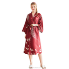 New Design Sexey Long Style blue Color Kimono Silk Like Satin Women Robe