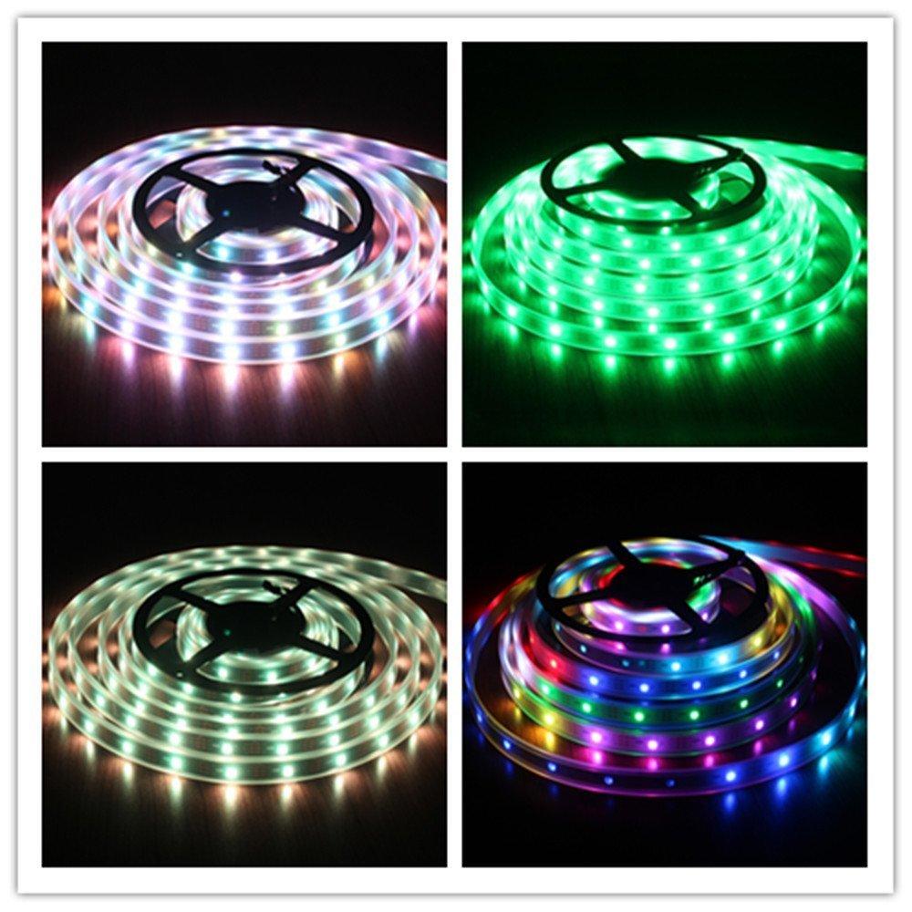 Sdmled 5m Pixel LED Strip Ws2812 30ic-30leds/m 5050 LED Strip RGB Waterproof Black /White PCB Addressable LED Strip Lights shopping malls decorative lighting (Waterproof IP67, Black PCB)