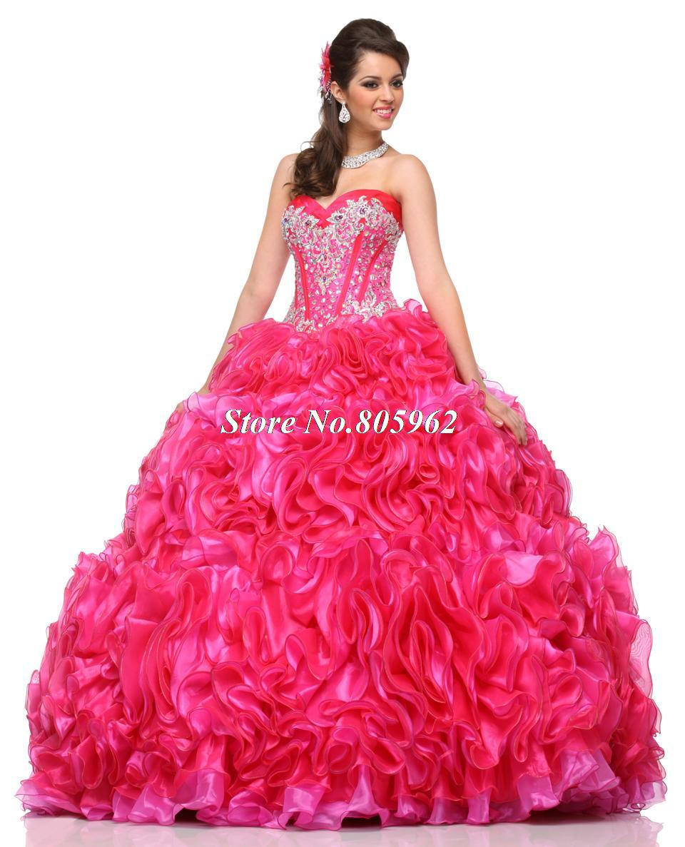 13913e415d5 Get Quotations · Hot Sale 2015 Pink Quinceanera Dresses Ball Gown Organa  With Beaded Ruffles Vestidos De 15 Anos