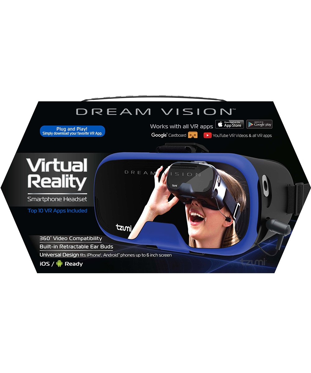 Tzumi Dream Vision Virtual Reality Smartphone Headset, Retracteable Built-in Ear Buds,fits all phones up to 6 inch, 360 Video Capability, Lightweight with high durability, Works with all VR apps. Blue