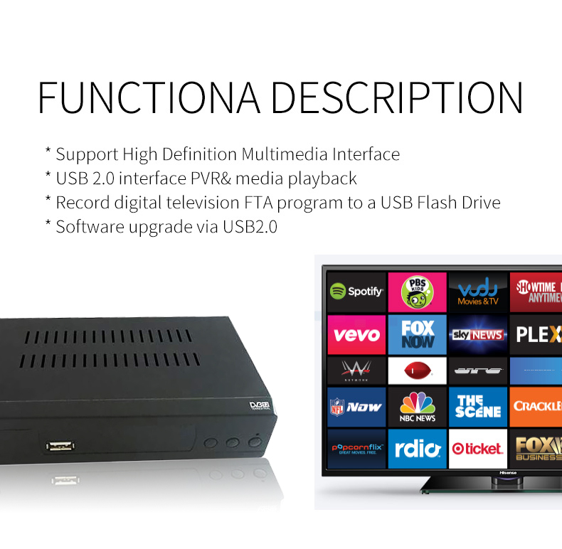 Fta Dvb T2 Set Top Box Usb Digital Terrestrial Tv Receiver Iptv Smart Tv  Receiver - Buy Usb Digital Terrestrial Tv Receiver,Hd Dvb-t2 Digital Tv