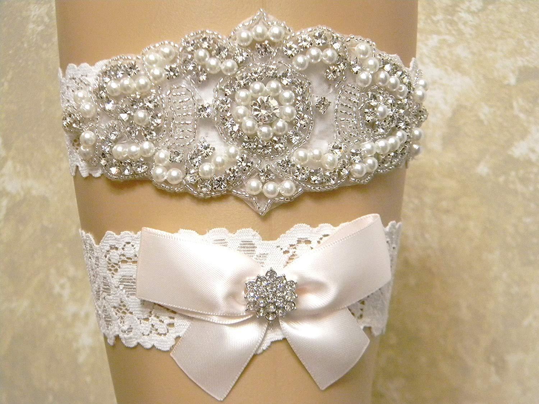 Hint of Pink Wedding Garter Set, Bridal Garter Belt, Pearl and Crystal Rhinestone Keepsake and Toss Garter Set, Lace Garters, MORE COLORS