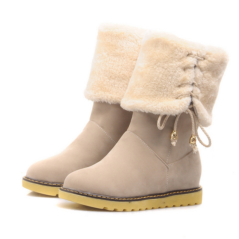 c0c66a9d258d Small Big Size 34-43 2015 Fashion Women Snow Boots Lace Up Platform Ankle Boots  Shoes Warm Winter Fur Martin Boots For Women