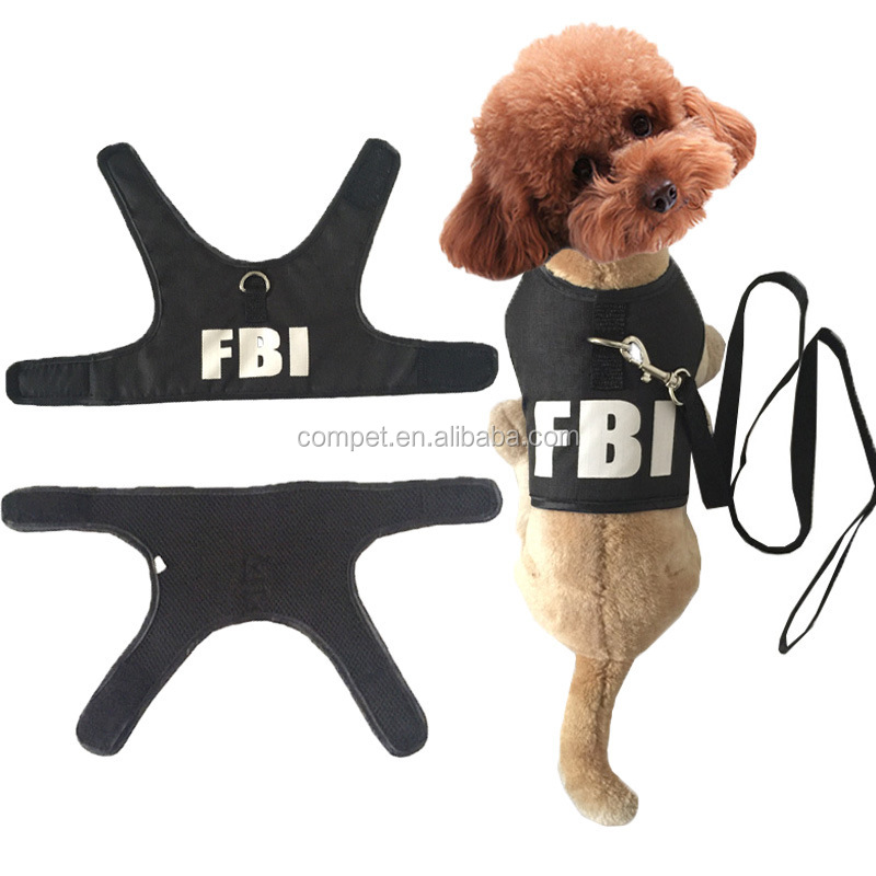 Summer protected vest style FBI pet pulling back suits dog harness