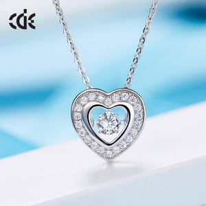 925 sterling silver love heart custom jewelry CZ dancing stone necklace