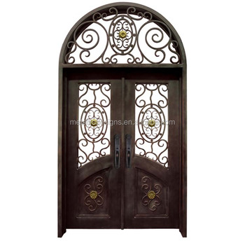 Fancy Exterior Arched Double Entry Metal Iron Doors With Sidelights