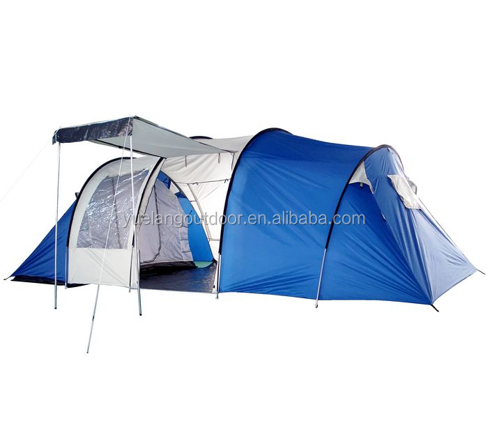 Family camping 5 person tent waterproof windproof two room tent