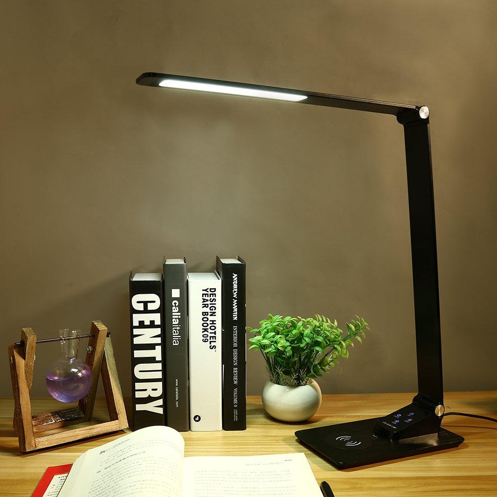 2020 yeni LED Qi kablosuz şarj masa lambası USB şarj portu dokunmatik kontrol göz bakımı masa lambaları ev ofis için