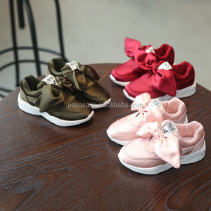 AL5009SC Factory wholesale kids girls shoes with bow fashion sneaker cute soft baby girl casual foot wear children sport shoe