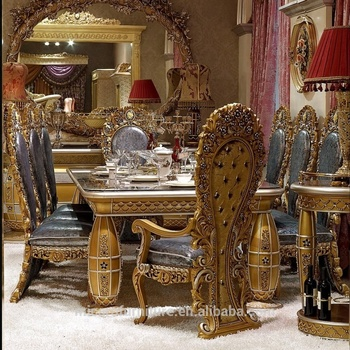 European Classic Style Elegant Antique Gold Wooden Dining Room Furniture Sets With Table And Chairs