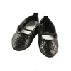 JC014-doll shoes- 18 inch doll Black Glittery Flat-Doll Manufacturer china