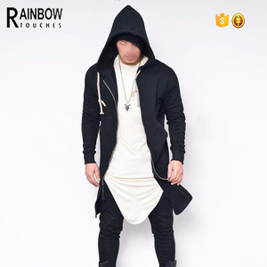 Side Slit Zip Up Jacket Mens Long Hoodie