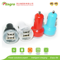 A24 Smart car charger with bluetooth earphone,super high efficiency universal battery double port car USB charger