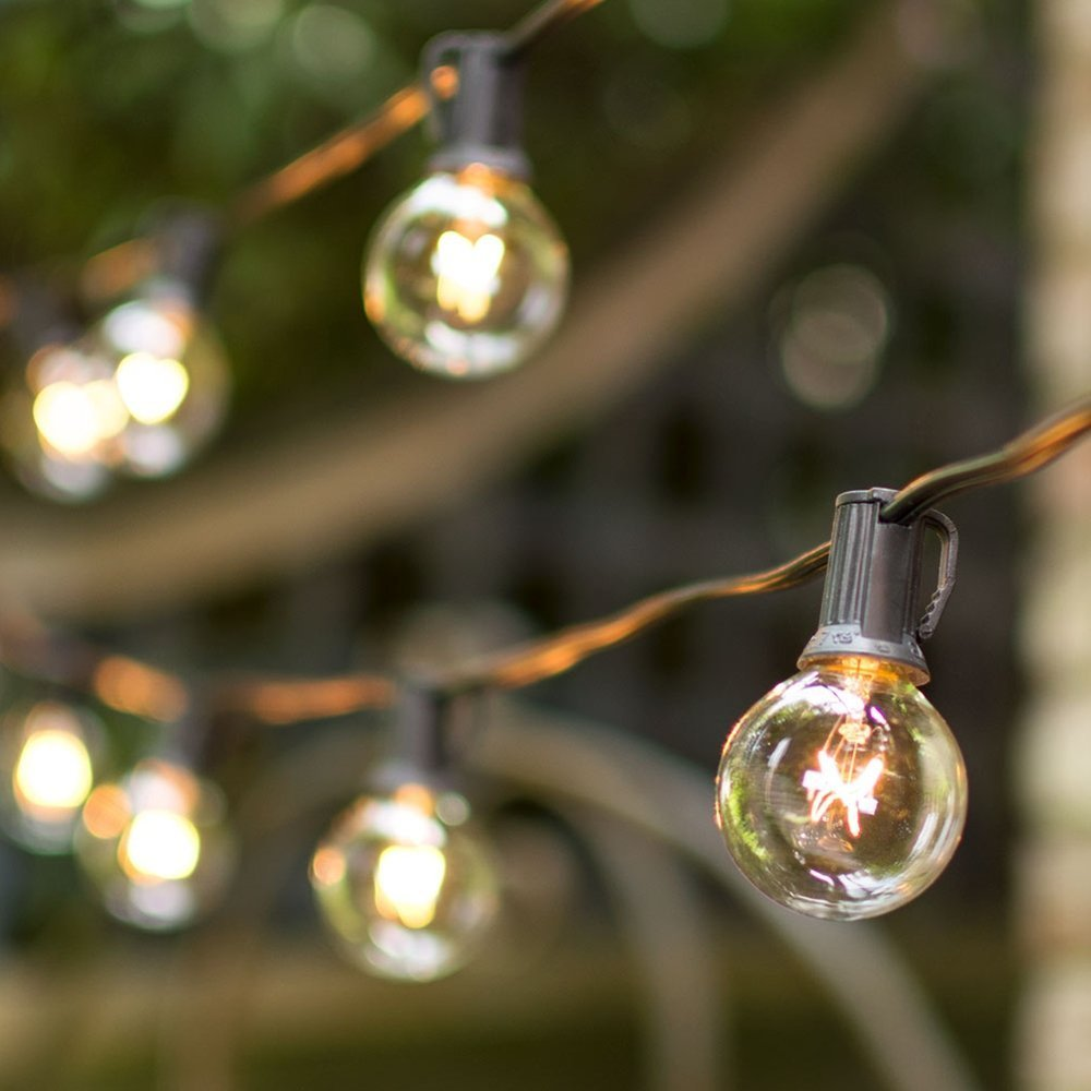 Globe String Lights, 1.5 Inch E12 G40 bulbs, 50 Foot Black Wire C7 Strand, End to End Connectable, Indoor Outdoor, Café Bistro String Lights, Wedding Venue, Restaurant, Event, Tent, Plug In (Clear)