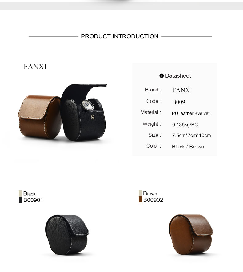 FANXI factory Wholesale Custom black PU Leather watch box with sewing round jewelry boxes brown watch box packaging
