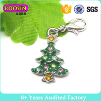 Fashion Accessories Enamel Christmas Tree, Christmas Charm with Lobster Clasp