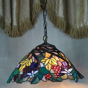 Chandelier lights 16inch tiffany style stained glass art hanging lamp with flower pattern