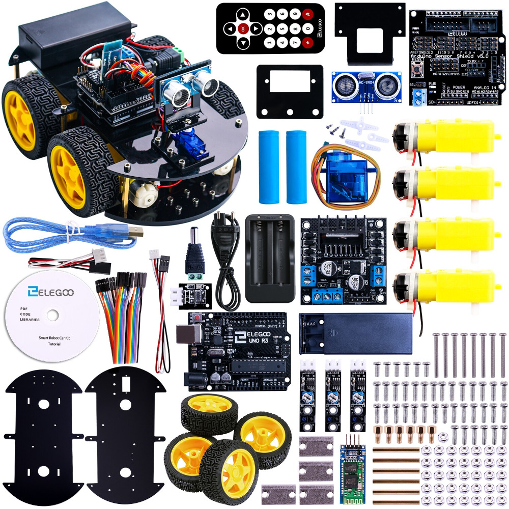 Multi-function Smart Car Kit Bluetooth Chassis Suit Tracking Compatible Uno R3 Diy Rc Electronic Toy Robot Reliable Performance Integrated Circuits Electronic Components & Supplies