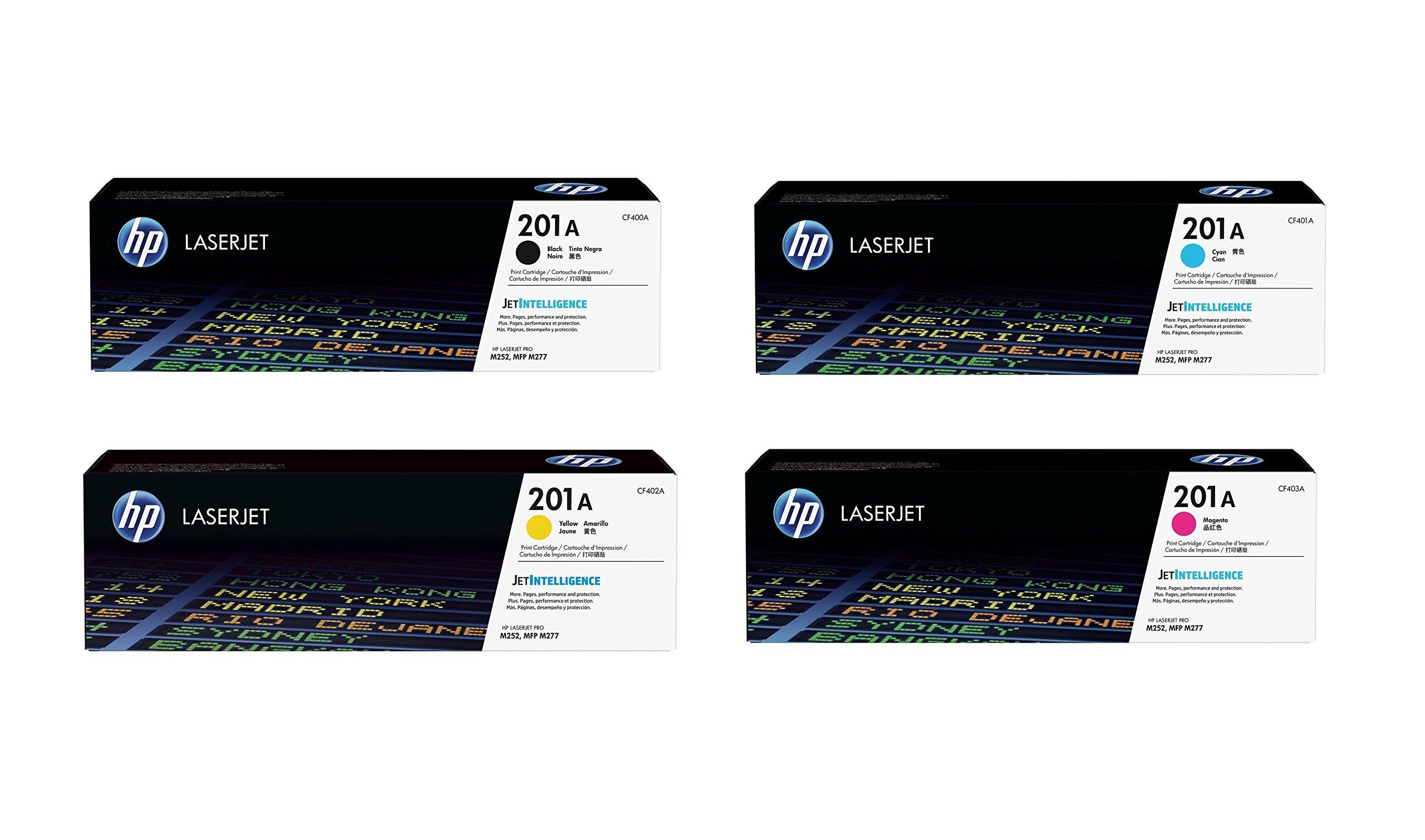 HP 201A BCYM Original LaserJet Toner Cartridge Set - Black, Cyan, Yellow, Magenta (CF400A, CF401A, CF402A, CF403A) - for LaserJet M277dn/M277dw Pro M252dn/M252dw Sealed in Retail Packaging