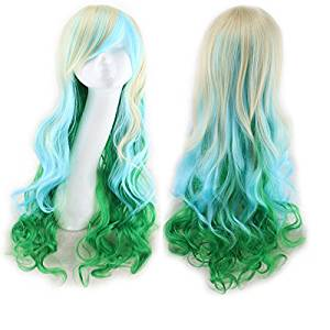 Coolsky Long Wig Light Blue & Pink Wig Halloween Cosplay Party Costume Wig for Women (Light Blue & Pink)