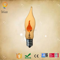 Hot selling advantage price candle flame C18 light bulb e12 base oem clear flicker light bulb