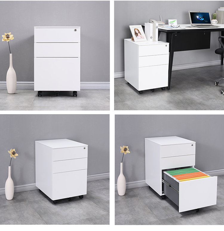 Hot sale metal  office furniture  hon filing cabinet  cold rolled  white vertical  3 drawer movable  storage  pedestal cupboard