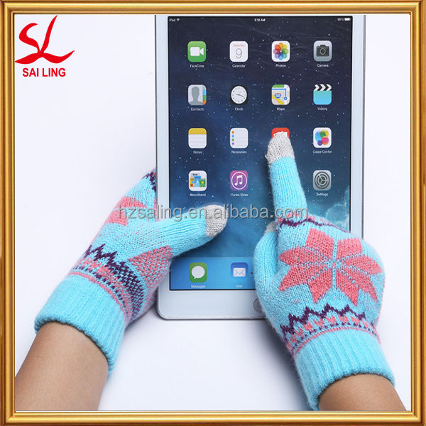 Jacquard Knitting Machine Made Winter Gloves Touchscreen Gloves For iPhone