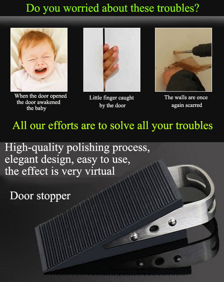 Wholesale black silicone rubber supplier stainless steel baby draft custom metal door stopper