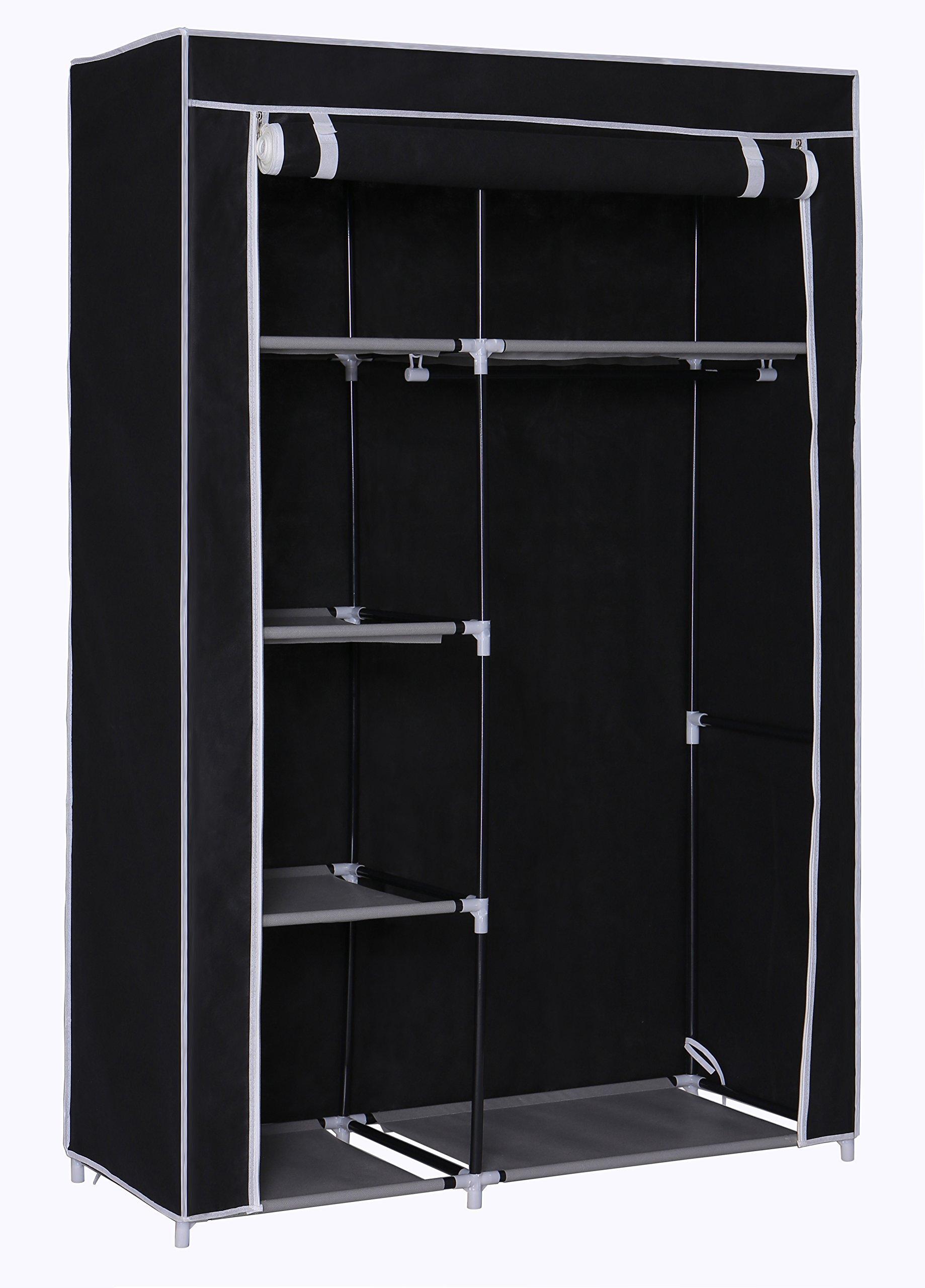 Home-Like Storage Closet Portable Wardrobe Armoire Cabinet Storage Closet Portable Clothes Closets Non-Woven Fabric Wardrobe Clothing Storage Organizer (Closet-Black)