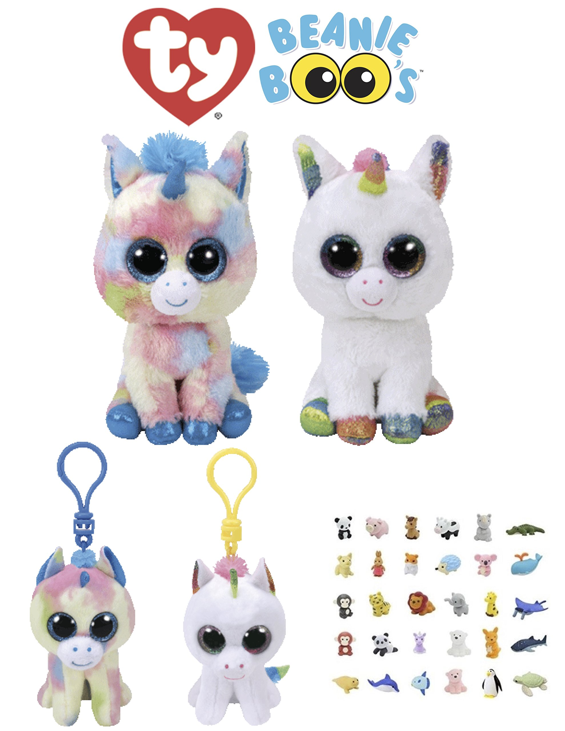 525365c40dc Get Quotations · Animal TY Beanie Boos Babies Stuffed Unicorns With Clip  Keychain   Puzzle Eraser