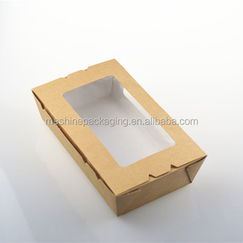 Disposable custom kraft paper salad bowl for take away with window