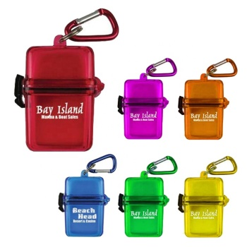 Beach swimming gift favorable price multi-function 2 in 1 colorful metal carabiner key money phone plastic waterproof box