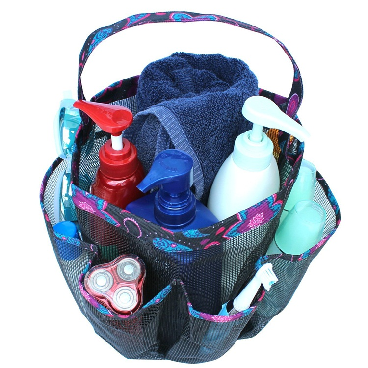 Private Lable Collapsible 8 Pocket Shower Caddy Travel Shower Mesh ...