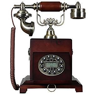 PST@ European antique wood telephone/residential/creative retro landline caller ID telephone