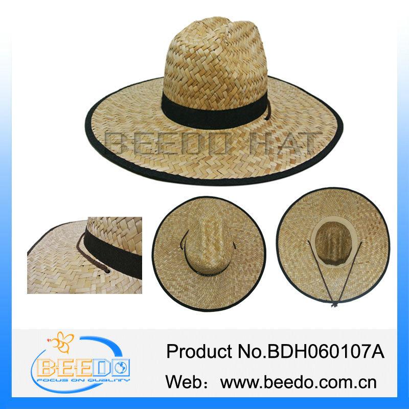 14bf5150890 Factory wholesale men wide brim rush straw cowboy hat with wind break