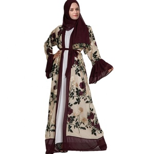 2019 New Arrival Fashion Horn Sleeve Abaya Full Embroidery Flower Dubai Open Abaya