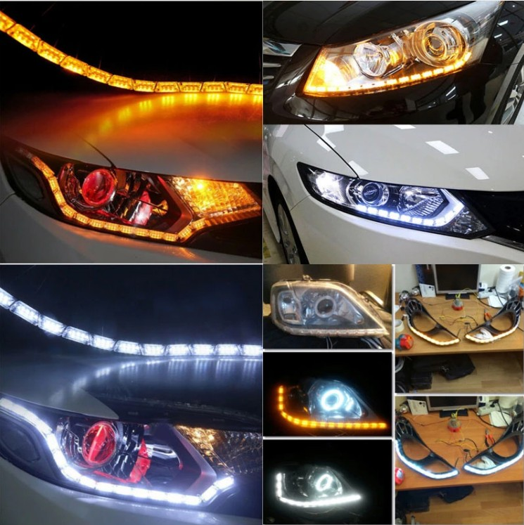Hot selling cars running light crystal tear LED strip DRL day time running light for cars