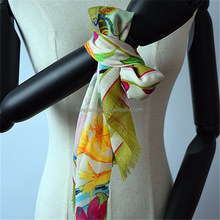 Women's square bandana wool silk scarf