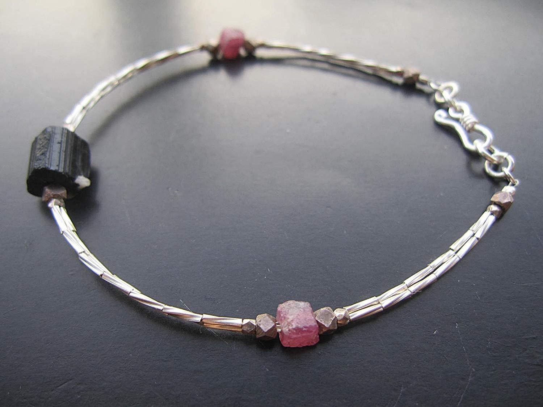 "Raw Black Tourmaline bracelet,Tiny Karen Hill Tribe Silver Bracelet,Raw Pink Tourmaline bracelet,Custom size 6.5"",7"",7.5"",8"""