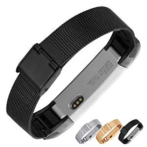 Fitbit Alta Metal Band, Nogis Adjustable Stainless Steel Wristband Mesh Milanese Loop Accessory Bracelet Watch Strap for Fitbit Alta Smart Watch (Classical Black)