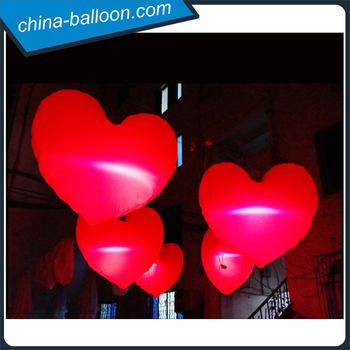 Valentine Decoration Inflatable Heart / Led Lighting Inflatable Valentine  Heart For Hanging