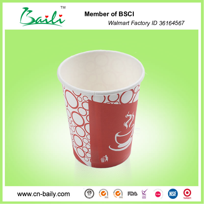 Disposable 7oz paper cup, disposable paper cup, single wall paper cup