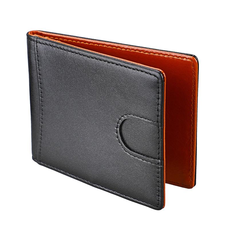 RFID Блокировка двойные тонкий пояса из натуральной кожи тонкий минималистский передний карман женские кошельки для мужчин зажим для денег