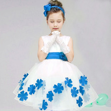 Quality Popular Festival Baby Girls Floral Infant Costume Kids Flower Big Bow Petals Party Clothing Prom