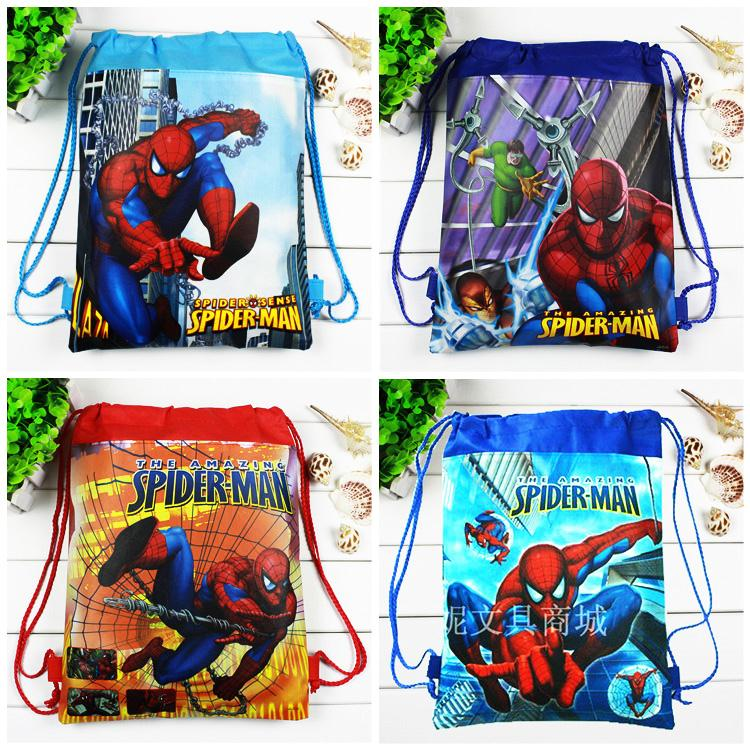 4pcs/lot Spider Man Children school bags Cartoon Drawstring Kids Birthday Party Favor,Mochila escolar,School Kids backpack