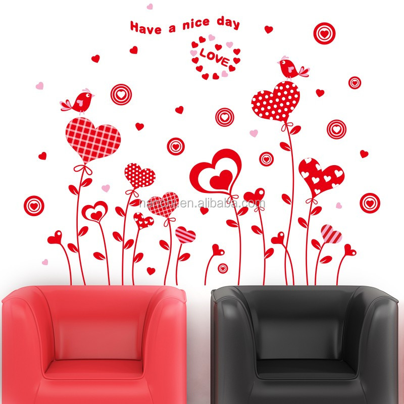Happiness Love Grass Nice Love Wall Stickers Teens Lovers Bedroom Wedding  Room Wall Decor Romantic Red