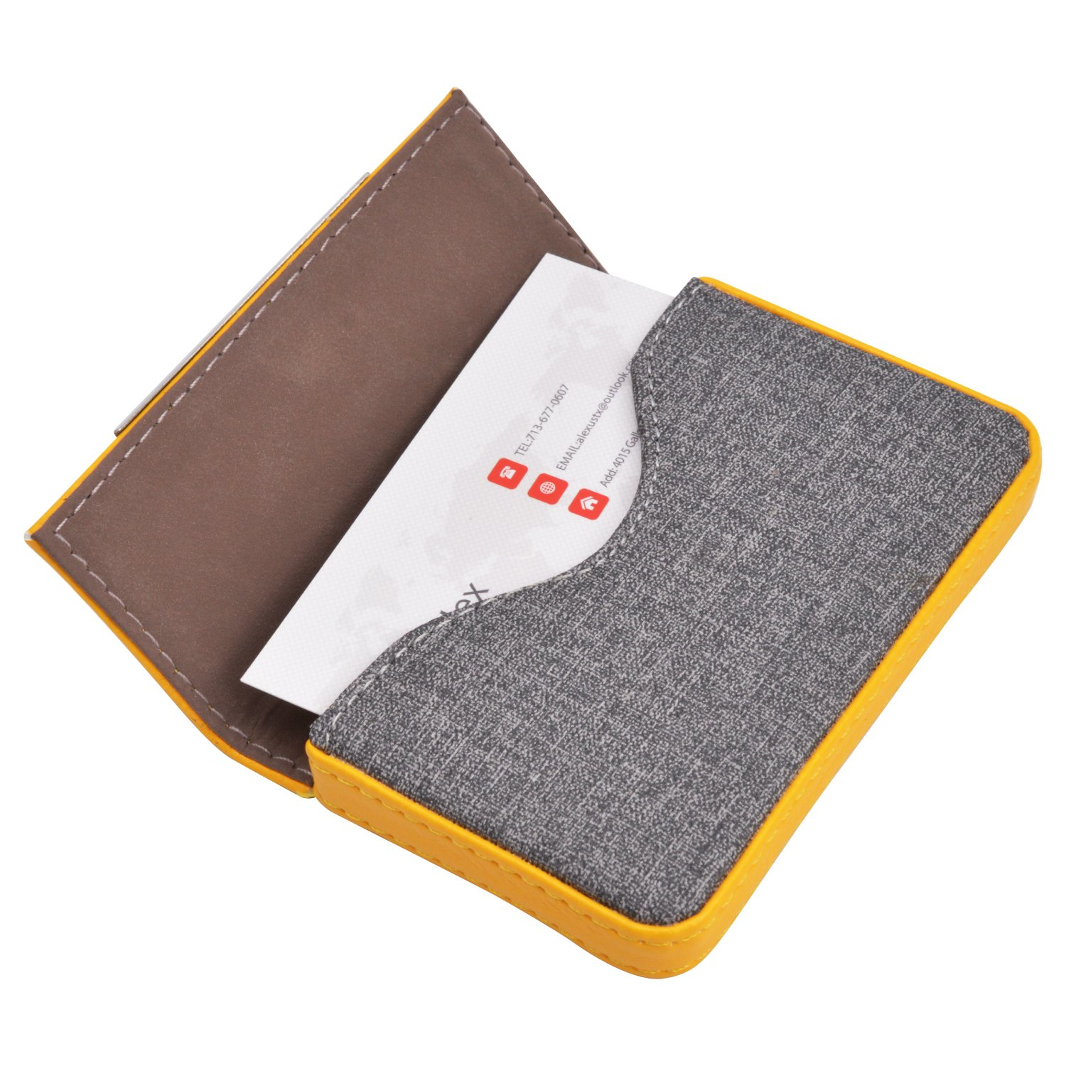 MaxGear Leather Business Card Case Fashion Business Card Holder with Magnetic Shut, Holds 25 Business Cards, Men Or Women Name Card Holder Case Yellow