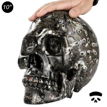 Wholesale Halloween Skull Natural Stone Carving 10 Inch Big Life Size Crystal Skull For Decor